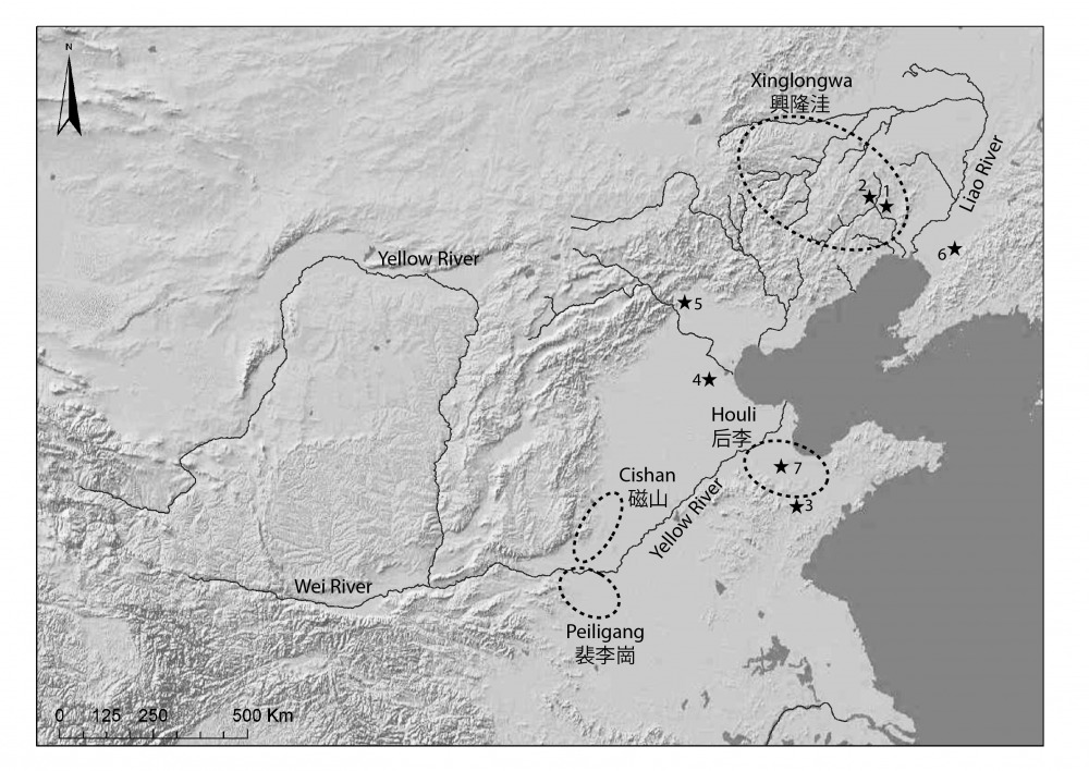 Figure 1: Location of Early Neolithic cultures, pre- and Early Neolithic sites in China. No. 7 represent the general area of the Mi River Basin.