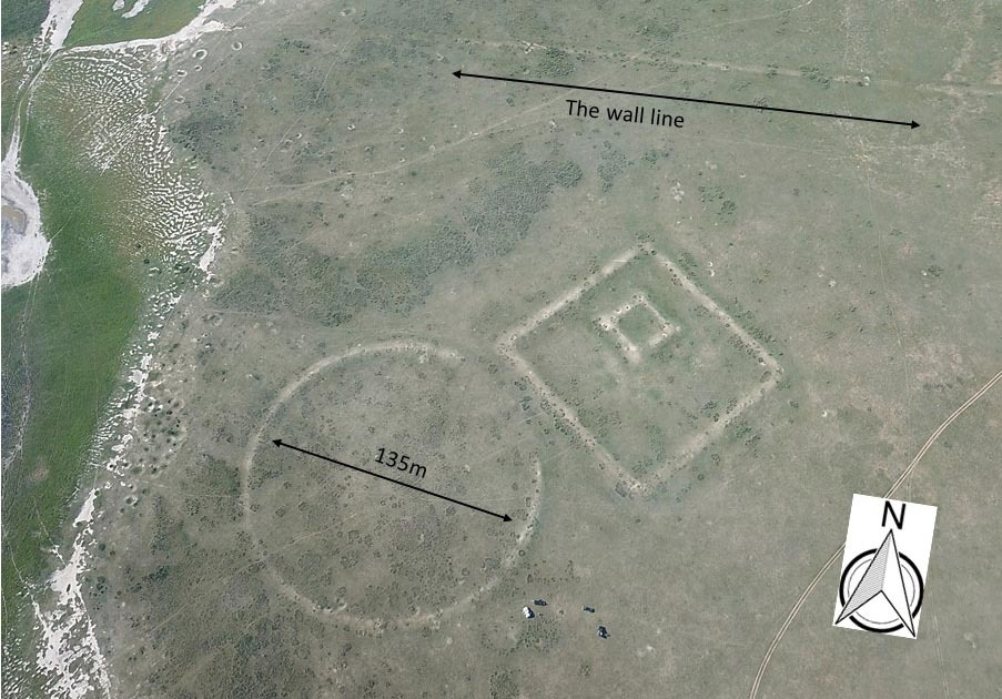 Fig. 3: A drone photo of a cluster of structures south of the wall line.