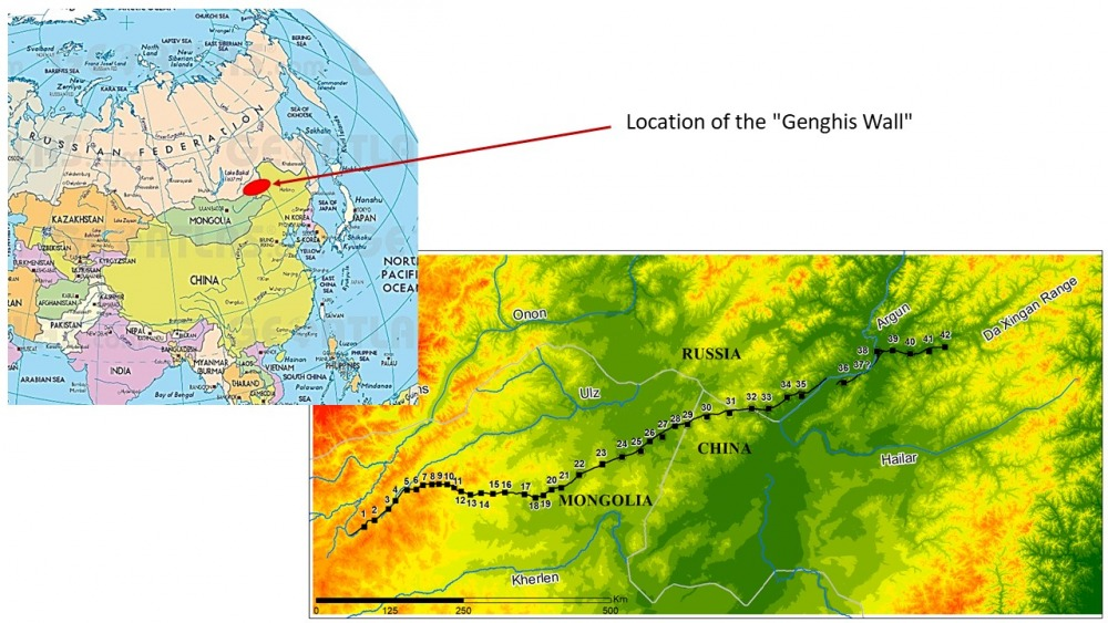 """Fig. 2: Map of the Northern Line – the so-called """"Genghis Wall."""""""